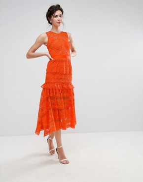 photo Allover Lace Prom Midi Skater Dress by True Decadence Tall, color Orange - Image 4