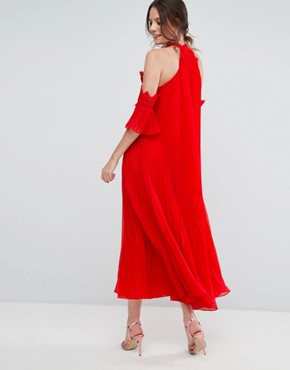 photo Cold Shoulder Pleated Midi Dress by True Decadence Tall, color Red - Image 2