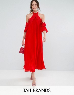 photo Cold Shoulder Pleated Midi Dress by True Decadence Tall, color Red - Image 1
