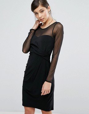 photo Reeva Mesh Insert Dress by Coast, color Black - Image 1