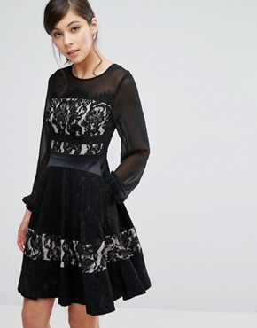 photo Delphina Lace Panelled Skater Dress by Coast, color Black Cream - Image 1