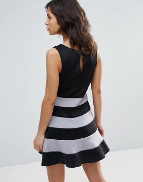 photo Skater Dress with Striped Skirt by Dex, color Black - Image 2