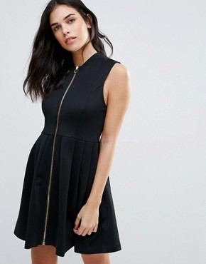 photo Skater Dress with Zip Front by Dex, color Black - Image 1