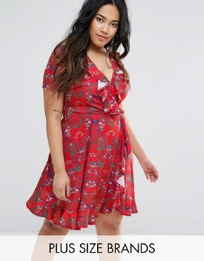 photo Tea Dress with Frills in Floral Print by Club L Plus, color Red - Image 1