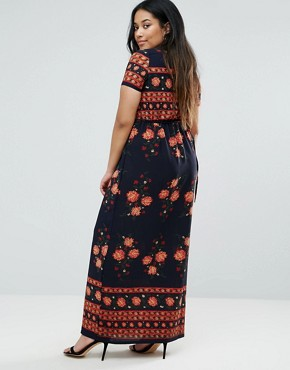 photo Maxi Dress in Floral Border Print by Club L Plus, color Black - Image 2