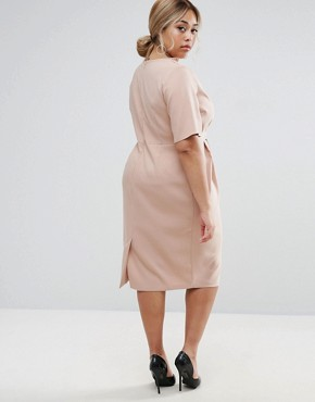 photo Midi Wrap Dress with Tie Detail by ASOS CURVE, color Mink - Image 2