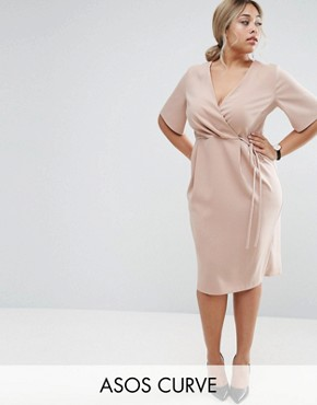 photo Midi Wrap Dress with Tie Detail by ASOS CURVE, color Mink - Image 1