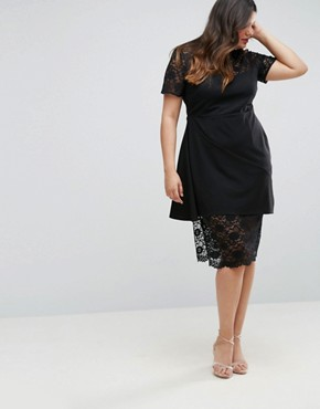 photo Asymmetric Pencil Dress with Lace and Ruffles by ASOS CURVE, color Black - Image 2