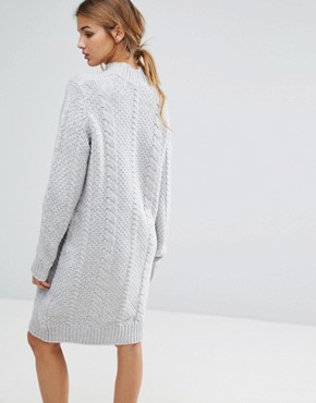 photo Sanni Alpaca Wool Mix Jumper Dress by Gestuz, color Light Grey Melange - Image 2