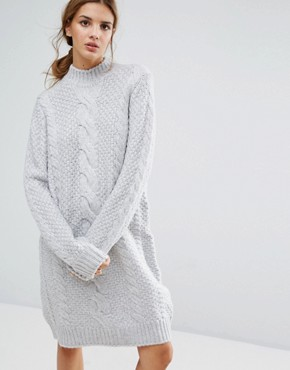 photo Sanni Alpaca Wool Mix Jumper Dress by Gestuz, color Light Grey Melange - Image 1