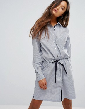 photo Winnie Striped Tie Shirt Dress by Gestuz, color Dark Blue/White Stripe - Image 1