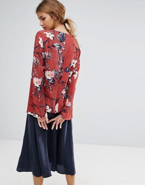 photo Mary Floral Print Long Sleeved Top by Gestuz, color Cowhide Flower Print - Image 2