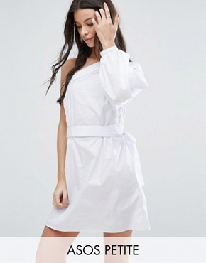 photo Extreme One Shoulder Cotton Mini Dress by ASOS PETITE, color White - Image 1