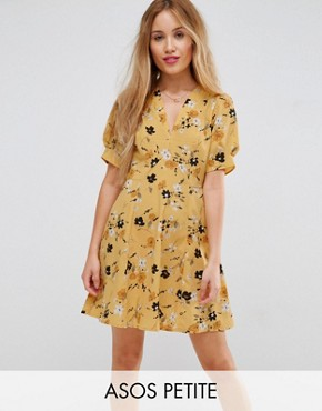 photo Tea Dress in Ditsy Floral by ASOS PETITE, color Multi - Image 1