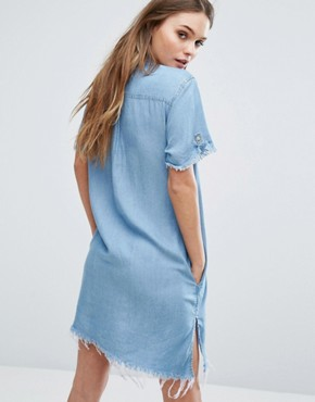 photo Asymmetrical Denim Dress with Raw Hem by Blank NYC, color Blue - Image 2