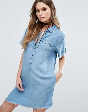 photo Asymmetrical Denim Dress with Raw Hem by Blank NYC, color Blue - Image 1