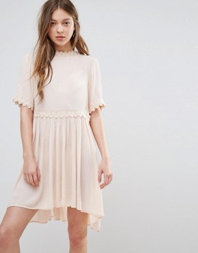 photo Smock Dress with Crochet Detail by Vero Moda, color Cream Tan - Image 1