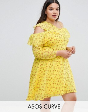 photo Cold Shoulder Ruffle Tea Dress in Dobby Ditsy Print by ASOS CURVE, color Multi - Image 1