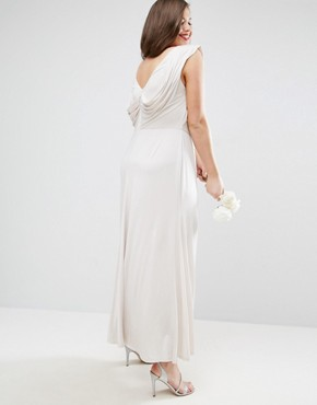 photo Slinky Drape Front Maxi Dress by ASOS CURVE WEDDING, color Mink - Image 2