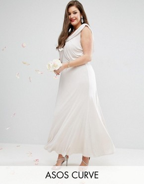 photo Slinky Drape Front Maxi Dress by ASOS CURVE WEDDING, color Mink - Image 1