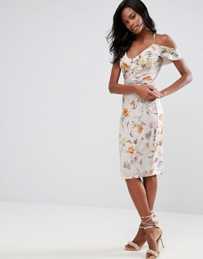 photo Cold Shoulder Soft Floral Midi Dress by ASOS, color Multi - Image 2