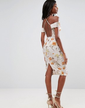 photo Cold Shoulder Soft Floral Midi Dress by ASOS, color Multi - Image 1