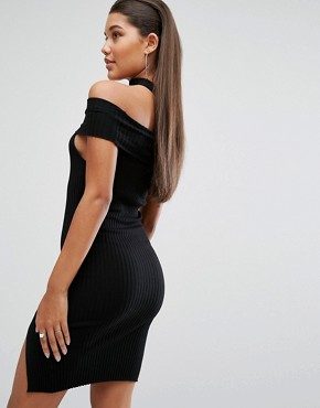 photo Off Shoulder Bodycon Dress with Choker Detail by Parallel Lines, color Black - Image 2