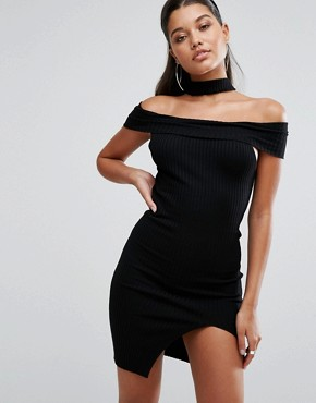 photo Off Shoulder Bodycon Dress with Choker Detail by Parallel Lines, color Black - Image 1