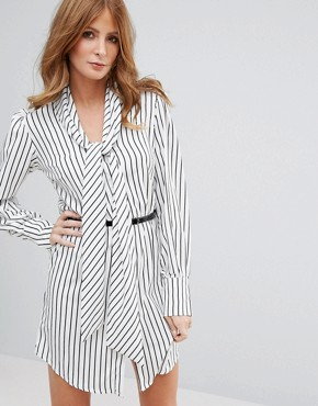 photo Stripe Dress with Belt by Millie Mackintosh, color Black/White - Image 1