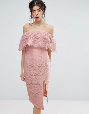 photo Metallic Lace Bardot Dress with Thigh Split by Love Triangle, color Pink - Image 1