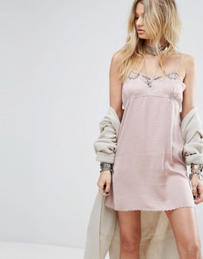 photo Satin Slip Dress with Lace Trim by Honey Punch, color Rose - Image 1