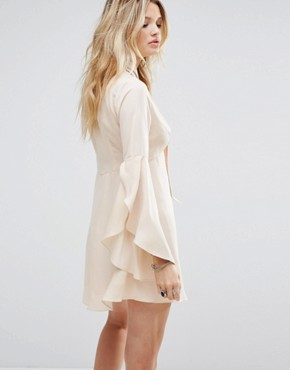 photo Button Front Tea Dress with Flared Sleeves and Tie Neck Detail by Honey Punch, color Nude - Image 2