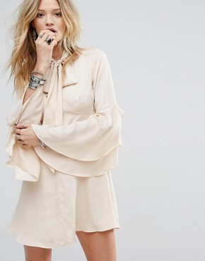 photo Button Front Tea Dress with Flared Sleeves and Tie Neck Detail by Honey Punch, color Nude - Image 1