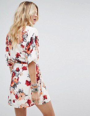 photo Wrap Front Dress with Kimono Sleeves in Rose Floral by Honey Punch, color White - Image 2