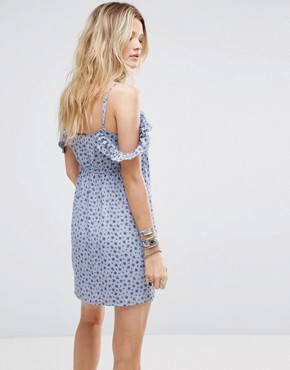 photo Cami Slip Dress with Ruffle Detail in Tiny Floral by Honey Punch, color Light Blue - Image 2