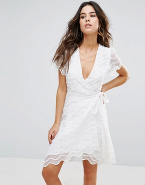 photo Brigette Wrap Dress by Little White Lies, color White - Image 1