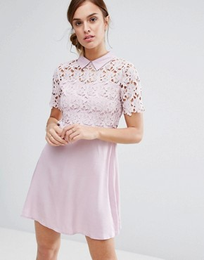 photo Philo Dress Lace Shift Dress with Collar by Little White Lies, color Blush - Image 1