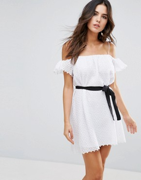 photo Veronique Cold Shoulder Dress by Little White Lies, color White - Image 1
