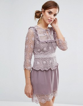photo Rachel Lace Bib Detail Dress by Little White Lies, color Lilac - Image 1