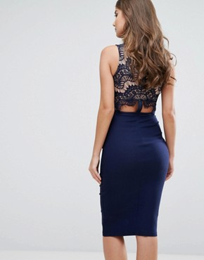photo Plunge Scallop Lace Midi Dress by Rare London, color Navy - Image 2