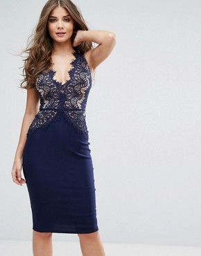 photo Plunge Scallop Lace Midi Dress by Rare London, color Navy - Image 1