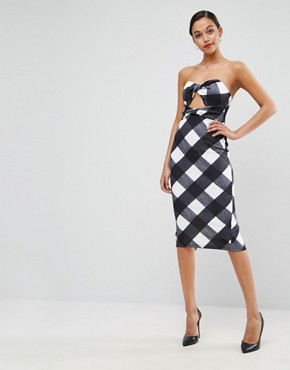 photo Gingham Bandeau Scuba Midi Dress by ASOS, color Multi - Image 1