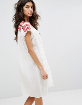photo Lori Embroidered Tunic Dress by Star Mela, color Ivory/Red - Image 2
