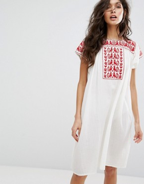 photo Lori Embroidered Tunic Dress by Star Mela, color Ivory/Red - Image 1