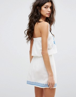 photo Paz Embroidered Sundress by Star Mela, color Ivory/Blue - Image 2