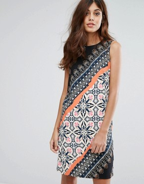 photo Aztec Printed Shift Dress by Warehouse, color Multi - Image 1