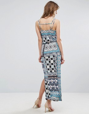 photo Prairie Print Patchwork Maxi Dress by Warehouse, color Multi - Image 1