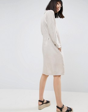 photo Batwing Shirt Dress by Warehouse, color Light Grey - Image 2