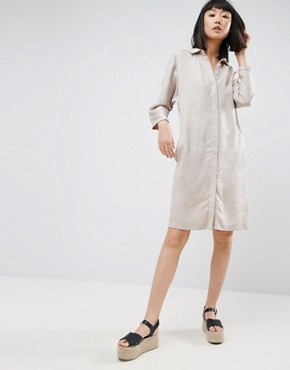 photo Batwing Shirt Dress by Warehouse, color Light Grey - Image 1