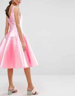 photo Panelled Seamed Midi Prom Dress with Godets by ASOS SALON, color Pink - Image 2